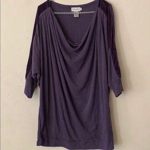 Soft surroundings purple oversized blouse size M